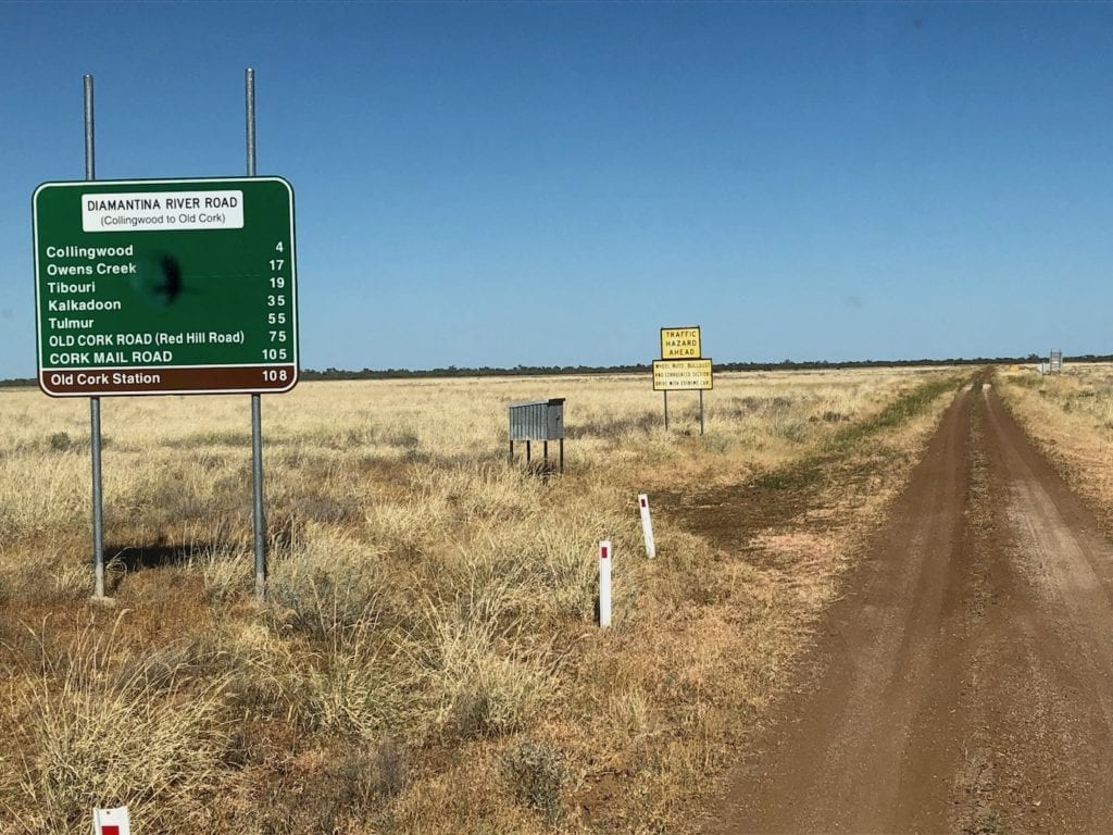 The Northern end of Diamantina River Road.