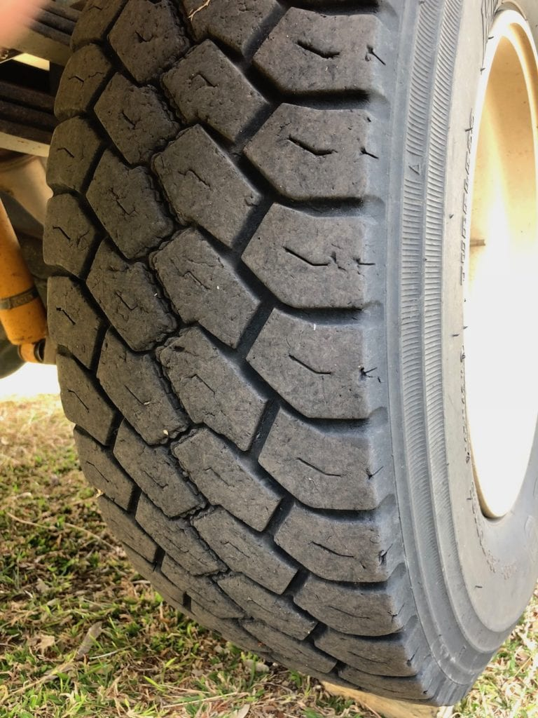 Tyre wear on our Isuzu 4x4 Truck.