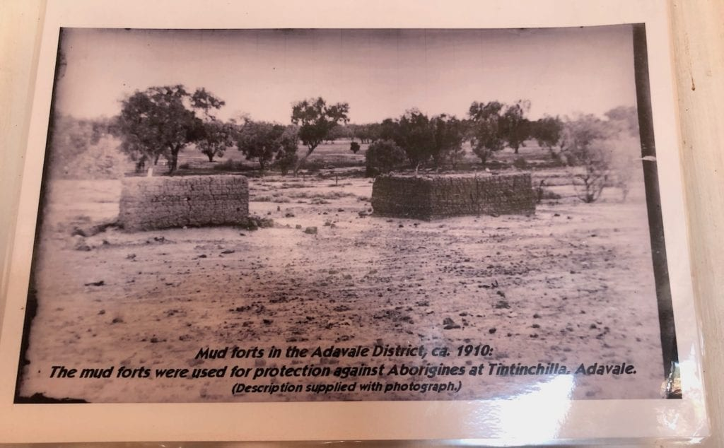 A photo of the mud forts once stood at a permanent waterhole near Adavale.