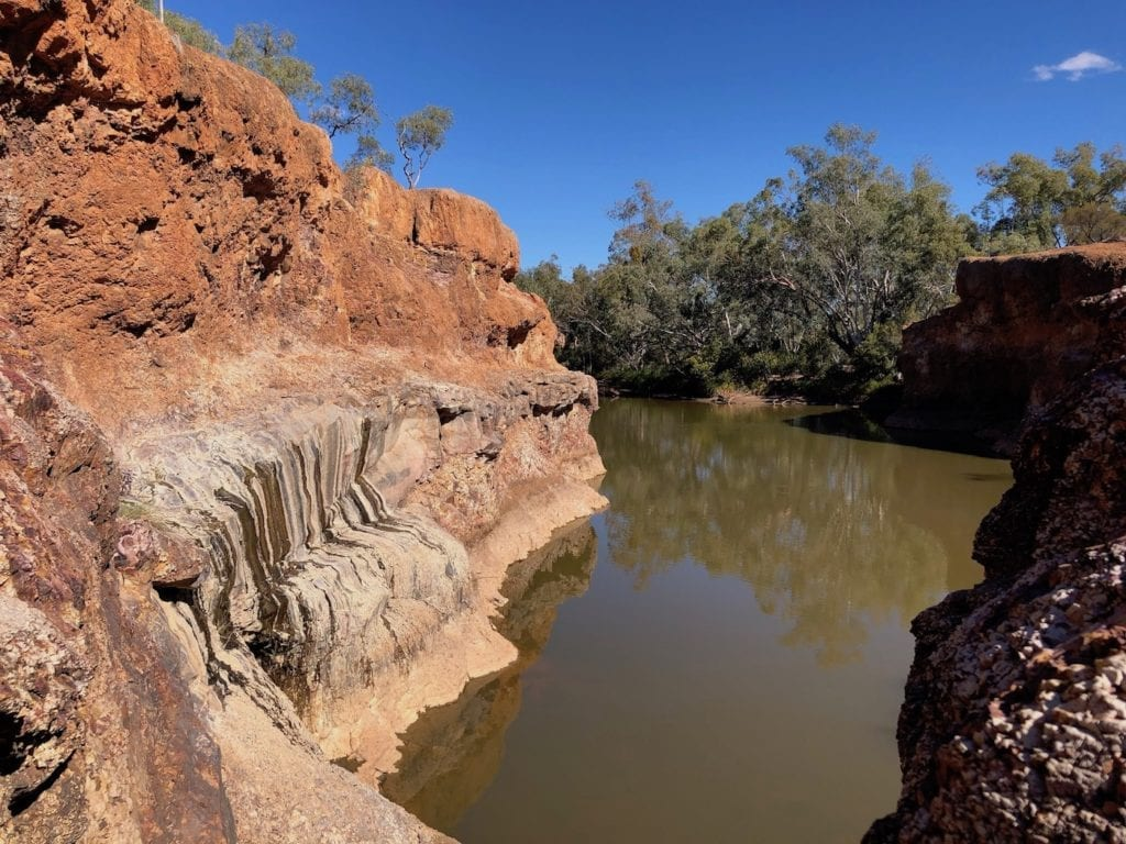 Looking down along Spencers Waterhole. Hell Hole Gorge National Park.