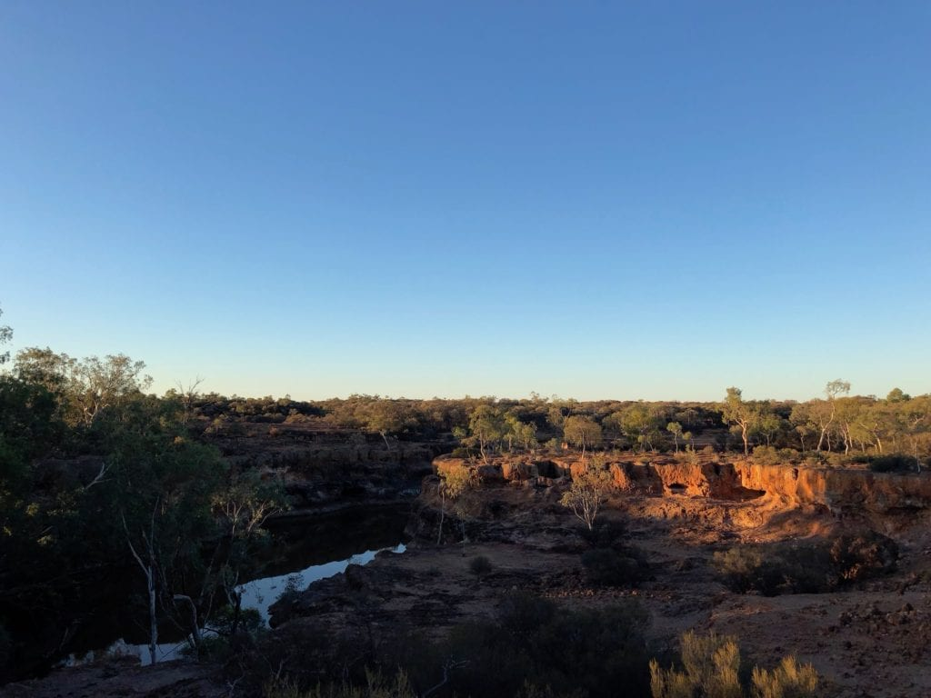 Sunset over Spencers Waterhole. Hell Hole Gorge National Park.