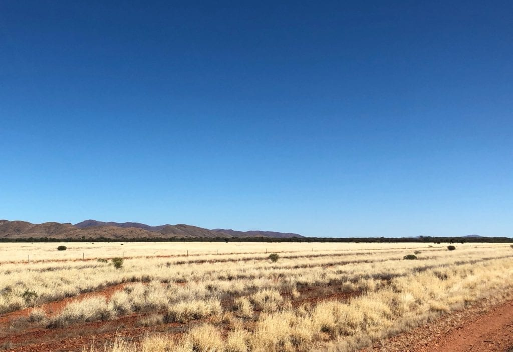 A view of the West MacDonnell Ranges from the Tanami Road.