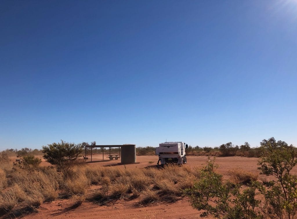 Dust was blowing everywhere at Renahans Bore, Tanami Road.