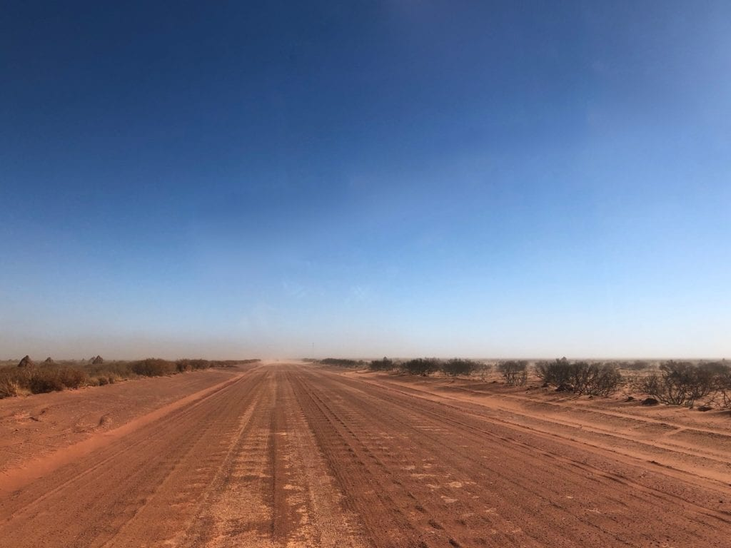 Driving towards a dust storm on the Tanami Road.