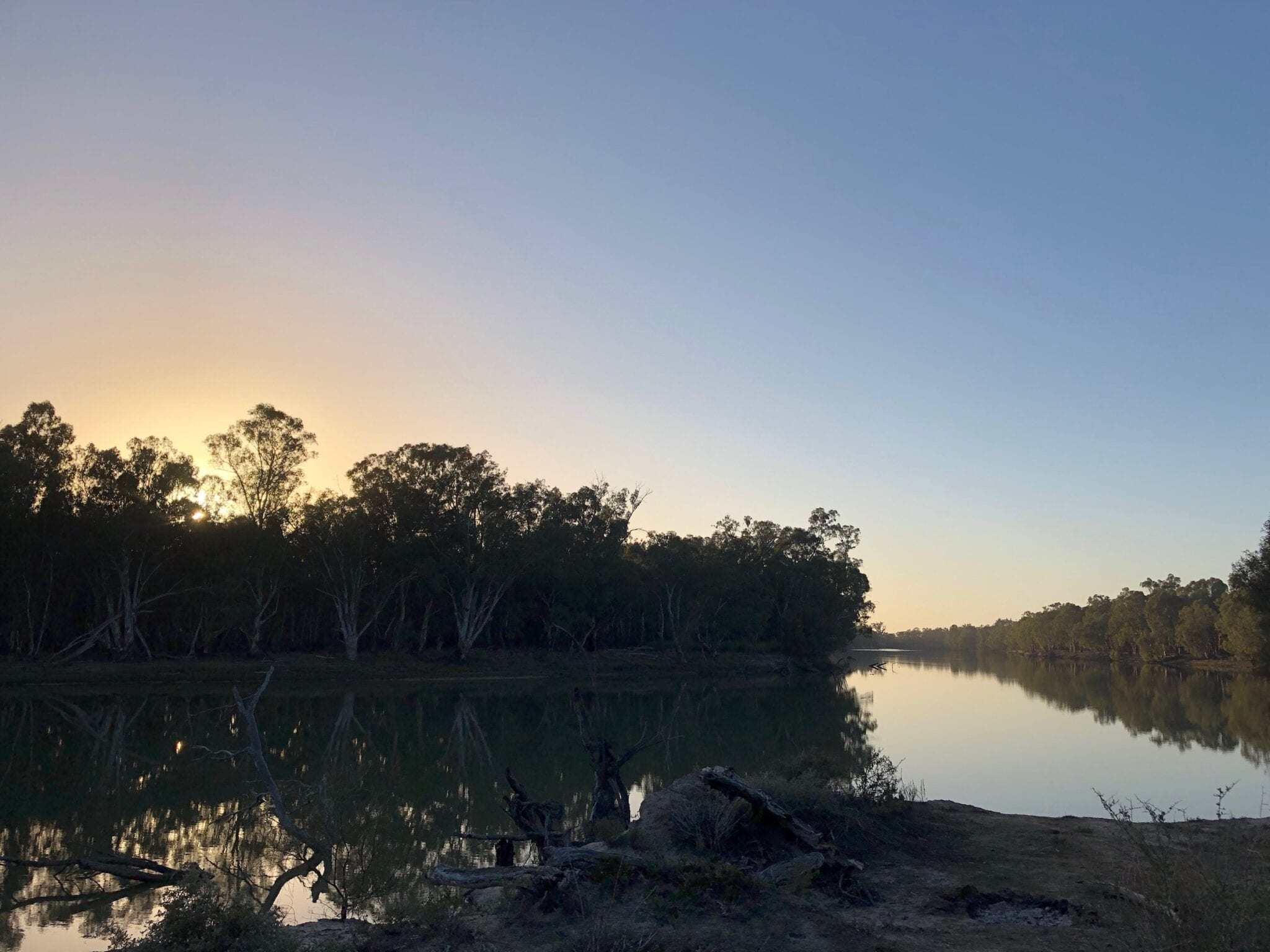 Sunrise over the Murray River at Murray Sunset National Park.