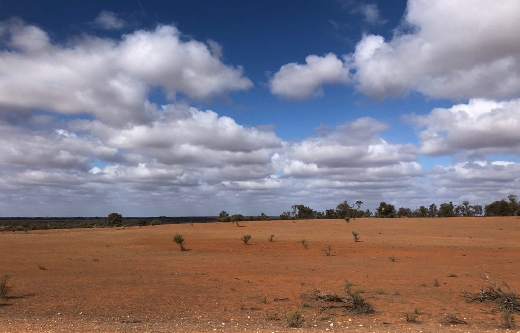 Parched land west of the Darling River. NSW drought.