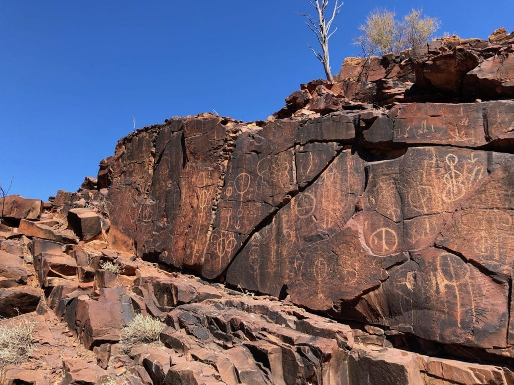 At the initiation site, hundreds of rock engravings fill every available spot. Chambers Gorge.