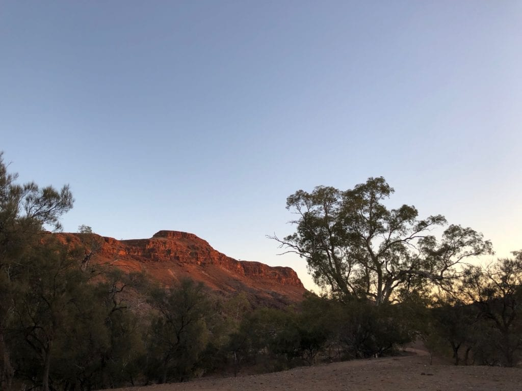 Mount Chambers dominates the landscape at Chambers Gorge at sunset.