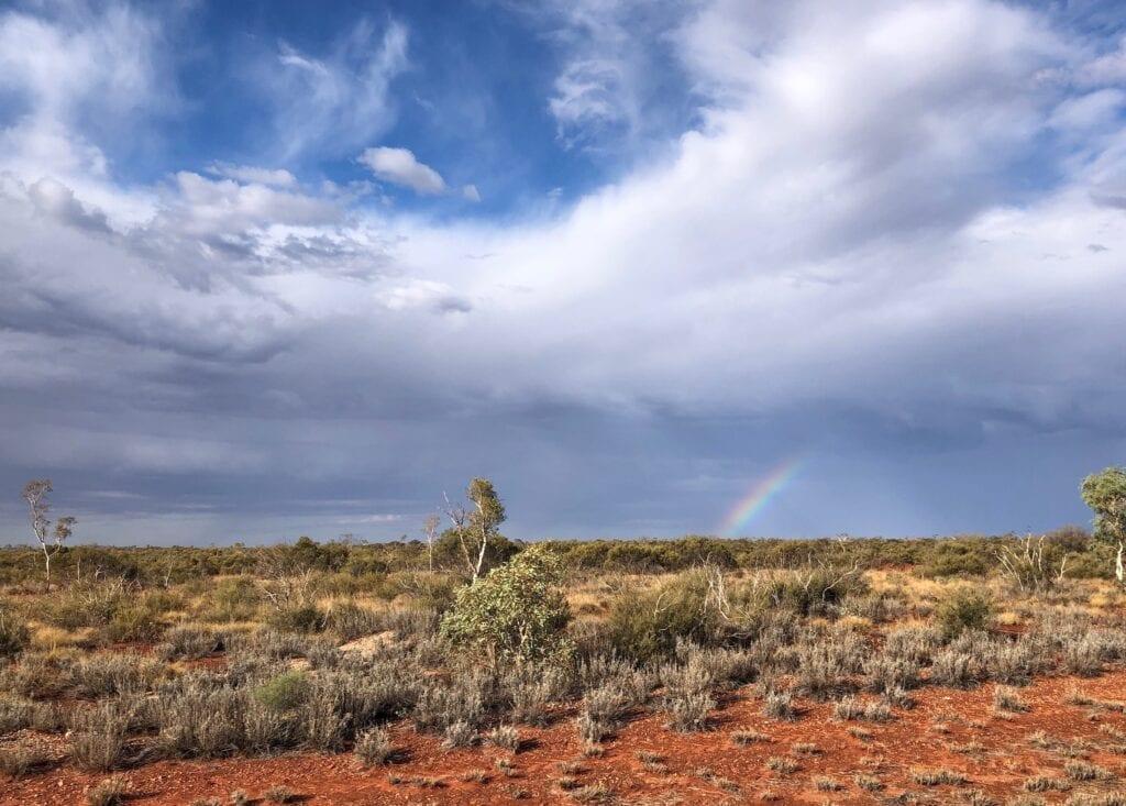 A rainbow over the Tanami Desert, near Tilmouth Well.