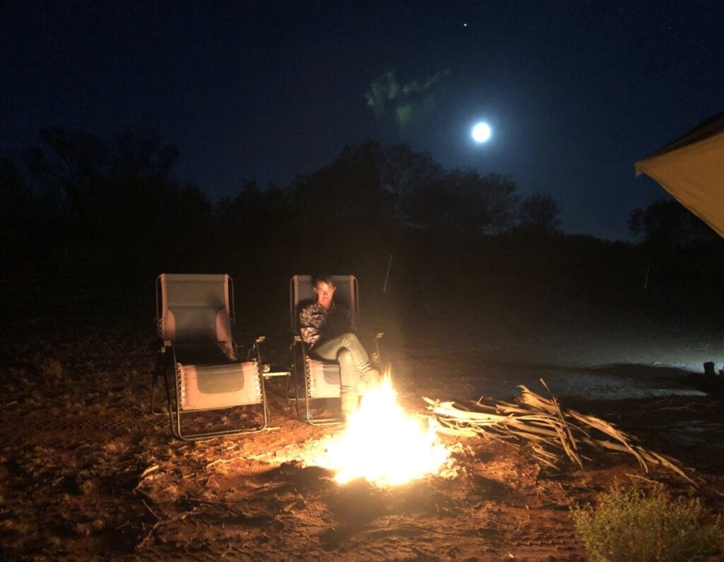 Campfire and a full moon. Camped in the Tanami Desert.