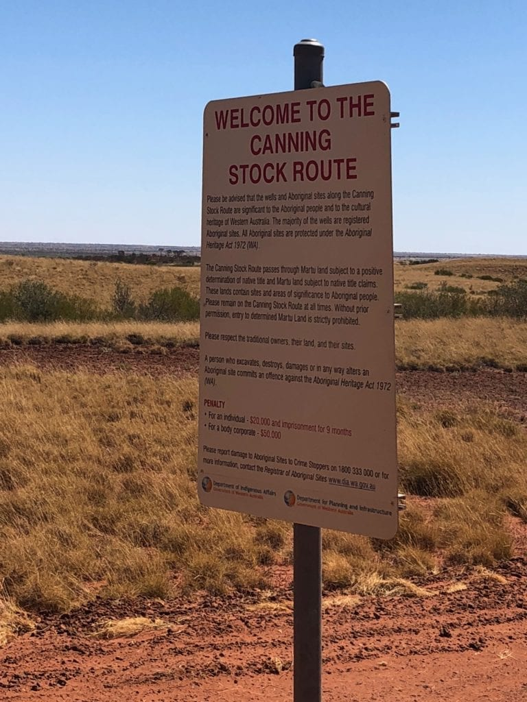 A confusing sign on Jenkins Track, trying to tell us we're on the Canning Stock Route! Gary Junction To Marble Bar.