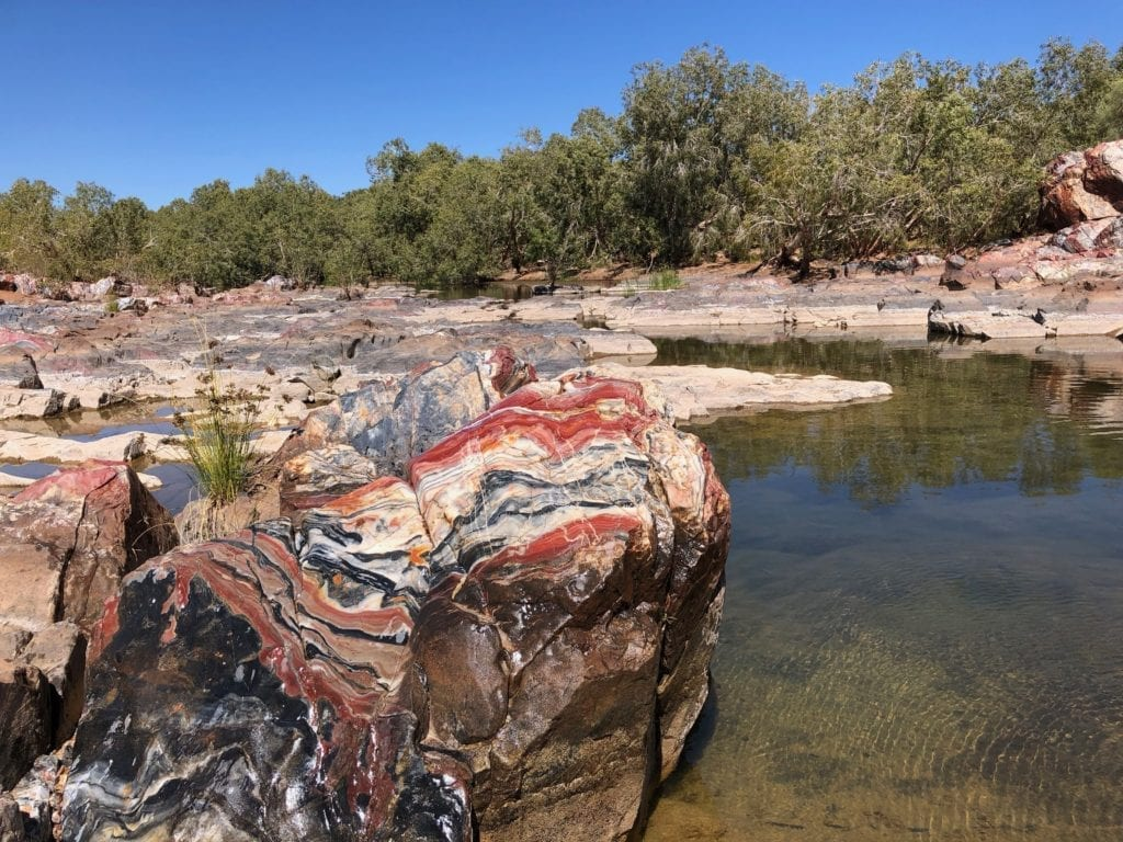 Striking colours at the marble (jasper) bar. Gary Junction To Marble Bar.