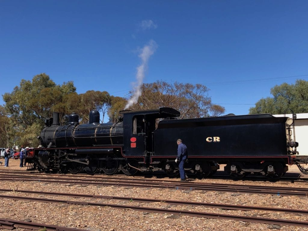 This steam locomotive was the type that ran along the Old Ghan in 1950. Quorn SA.