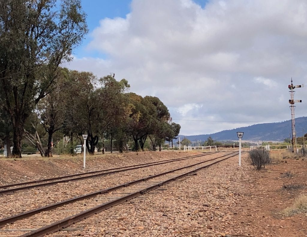 The Old Ghan rail line at Quorn, looking South.