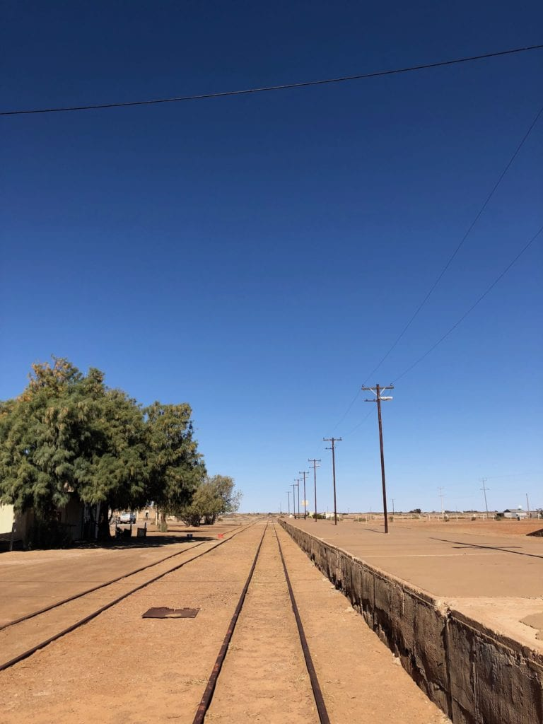 Old Ghan rail line at Marree looking South to Quorn SA.