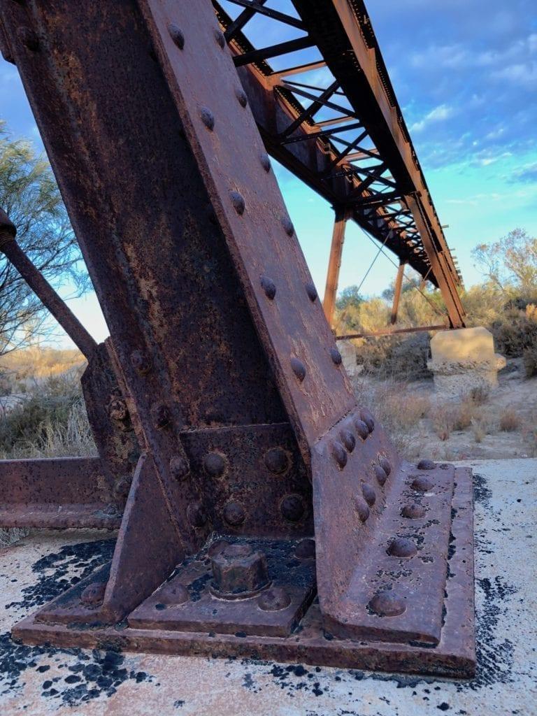 Old Ghan bridge at Gregory Creek. Salt Lakes and Water
