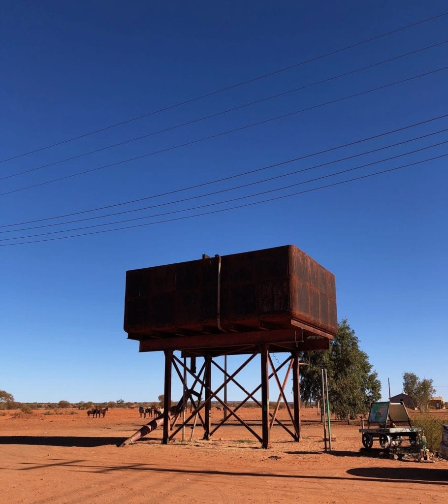 Water tower at Finke for the Old Ghan. Salt Lakes and Water.