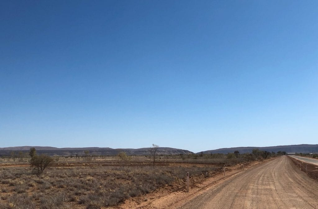 Approaching Heavitree Gap from Finke. Finally free of the sand dunes!