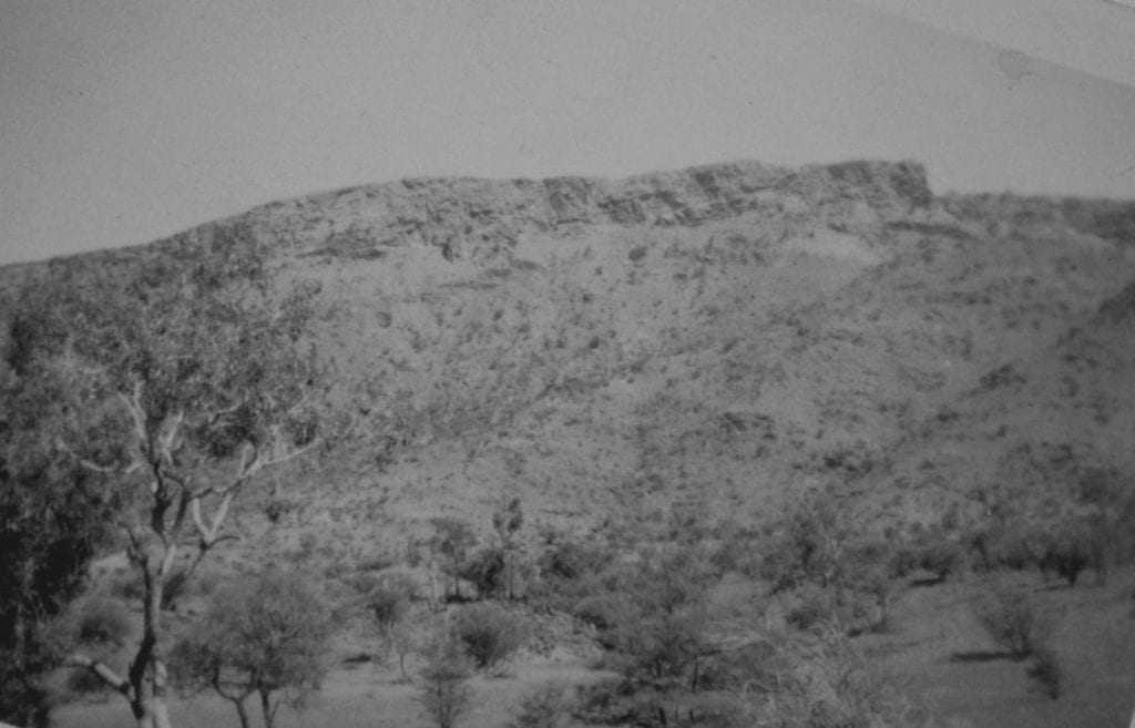 The MacDonnell Ranges approaching Heavitree Gap from the south, 1950. A welcome relief from the sand dunes.