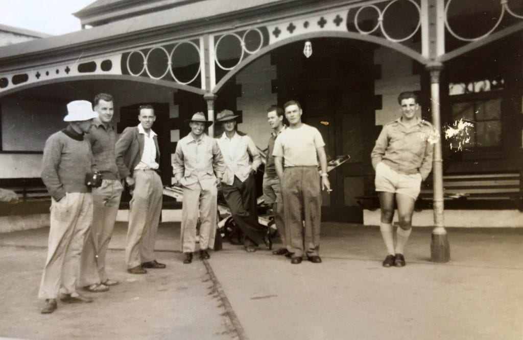Men of the 1950 Natmap crew out the back of Quorn S.A. railway station. Old Ghan.