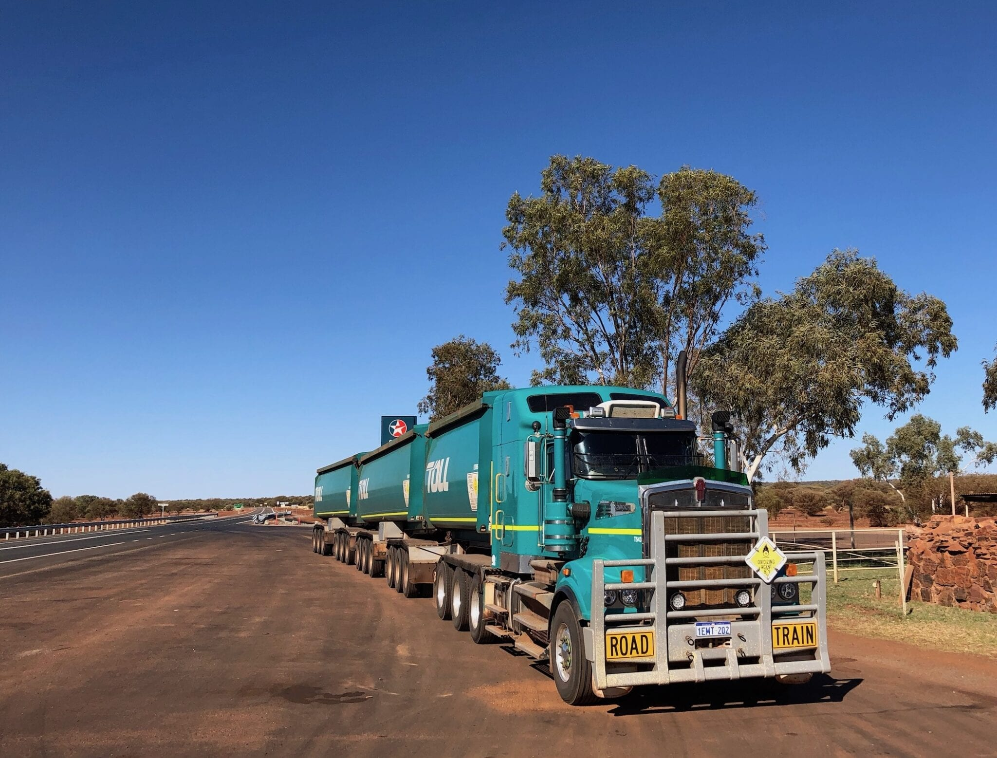 A road train in the Pilbara of Western Australia. Being road safety aware is crucial when sharing the road with trucks.
