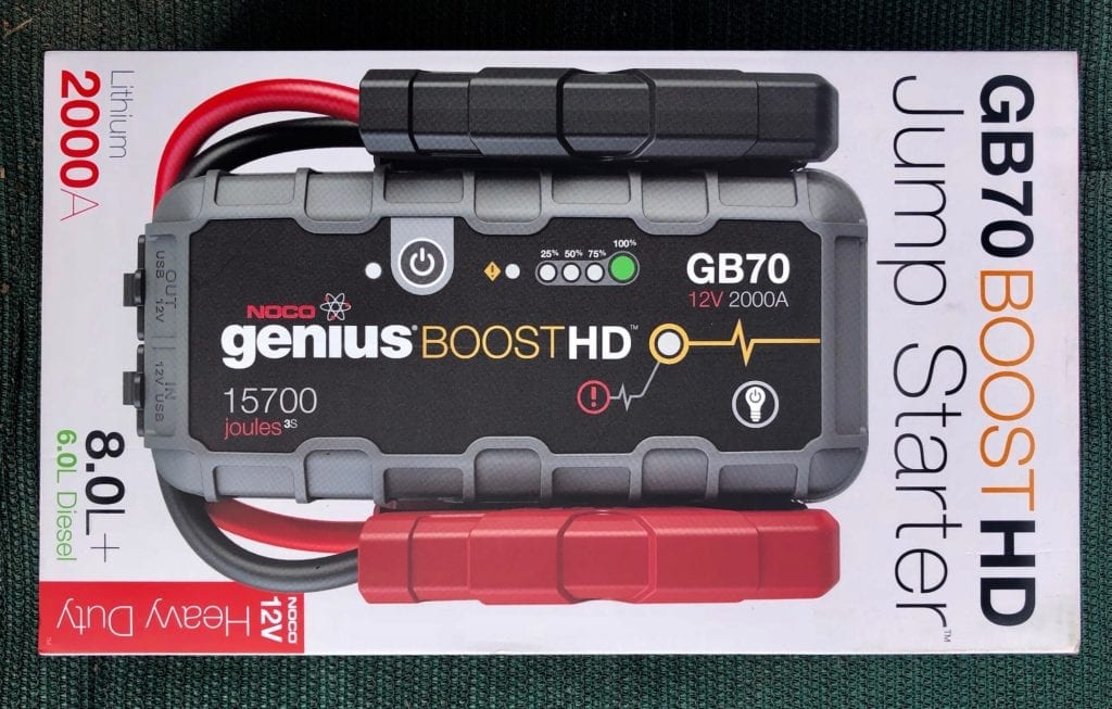 NOCO Genius Boost GB70 portable jump starter, packaging.