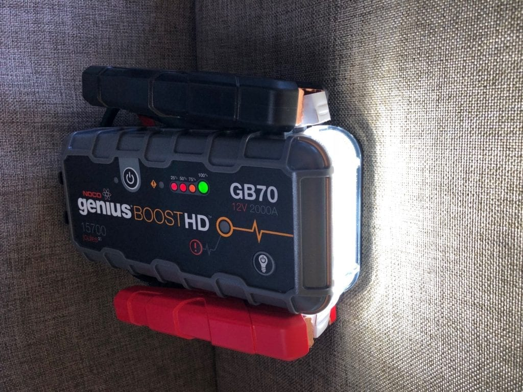The NOCO Genius Boost GB70 portable jump starter has a multi-mode LED flashlight.