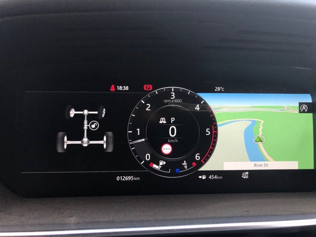 The Range Rover Sport's in-dash display shows all the information you need when 4WDing.