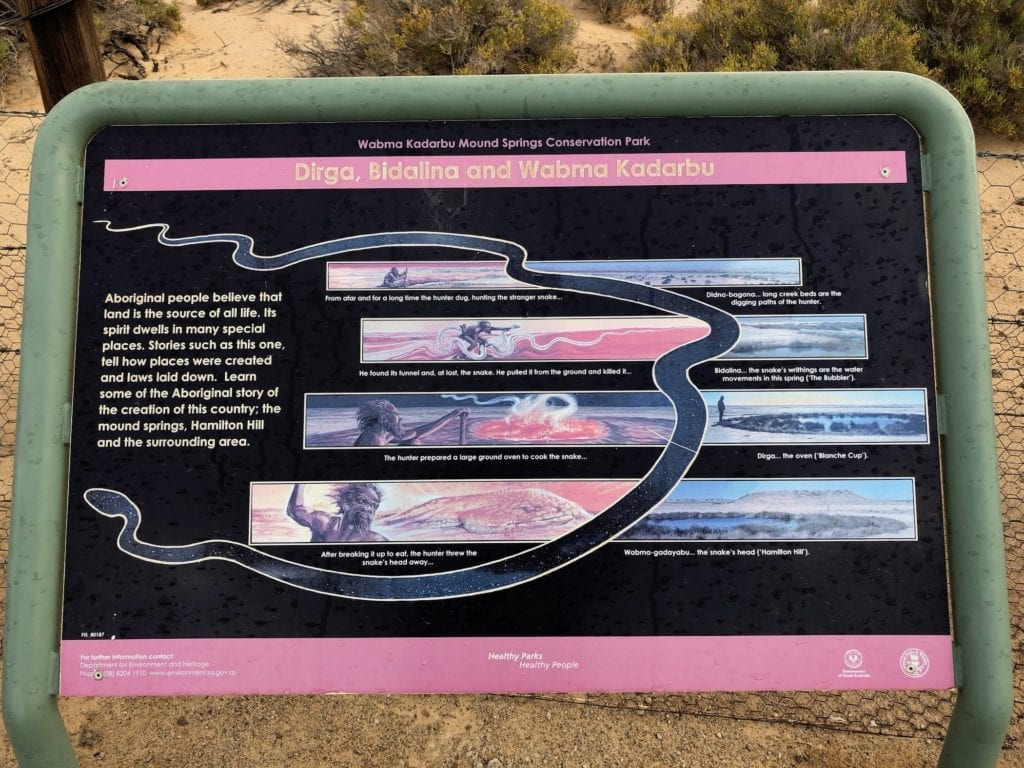 The Arabunna Creation Story of the Kanmari serpent explains how these mound springs were created. Artesian water.