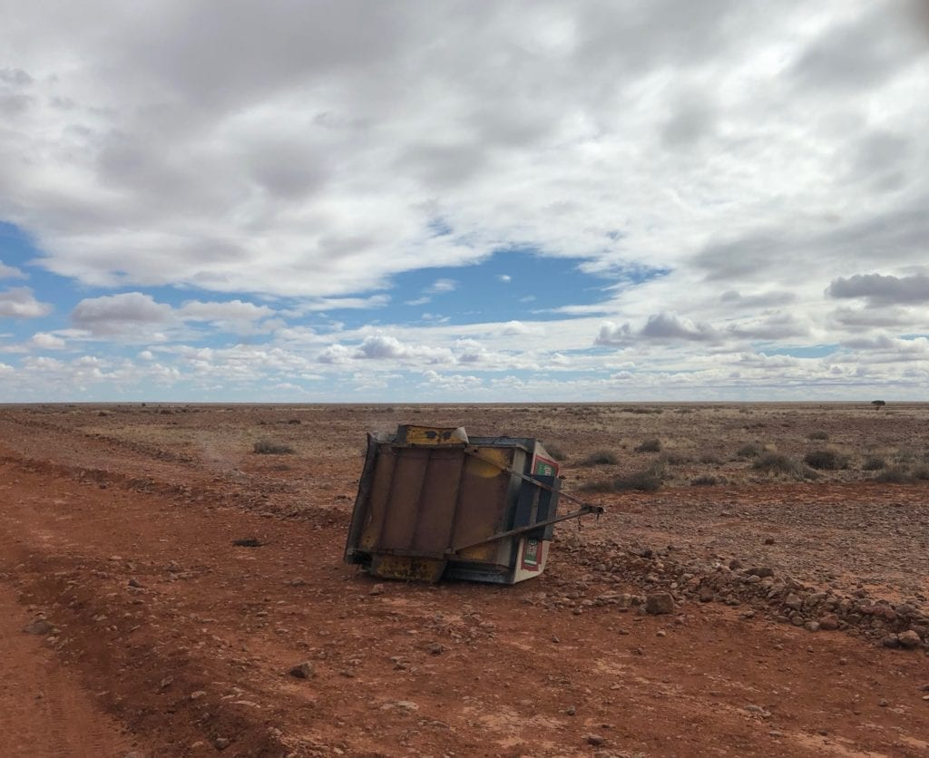 North of Perdirka Desert, the road opens into flat stony country. This trailer couldn't survive the corrugations.