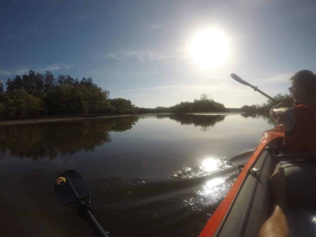 Kayaking early morning on the Wooli Wooli River.