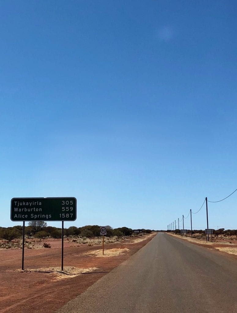 Signpost east of Laverton WA, on the Great Central Road. 1,587km to Alice Springs!