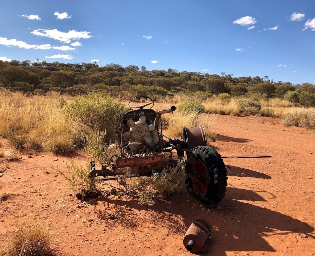 The old tractor at Yarla-Kutjarra campground. Great Central Road Camping.