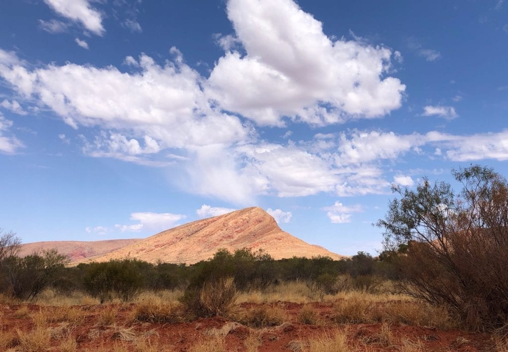 An unusual mountain of solid rock, Petermann Ranges. Great Central Road, Great Victoria Desert.