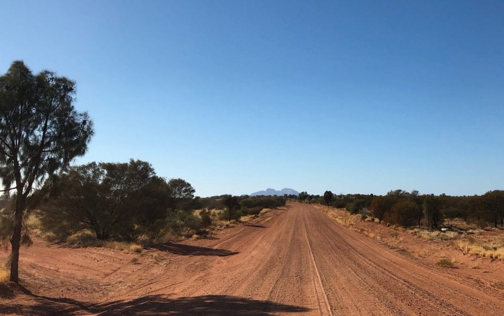 Driving towards Kata Tjuta on the Great Central Road.