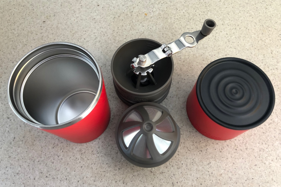 The drip Kettle (at right) has a removable base. This can be used for a lid on the tumbler. Cafflano Klassic, camping coffee maker.