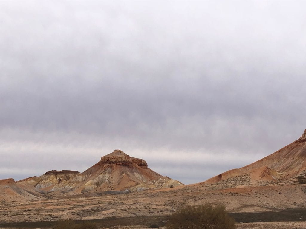 Flat-topped mesas have formed after millions of years of erosion at the Painted Desert SA.