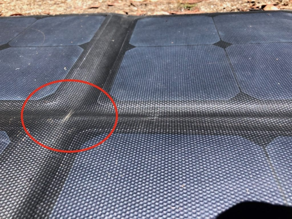This mark on our solar blanket appeared early, but it hasn't deteriorated at all.