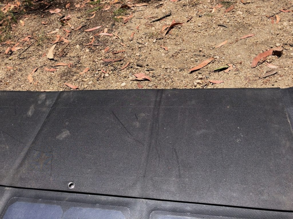 The back side of our solar blanket is free of scratches and nicks.