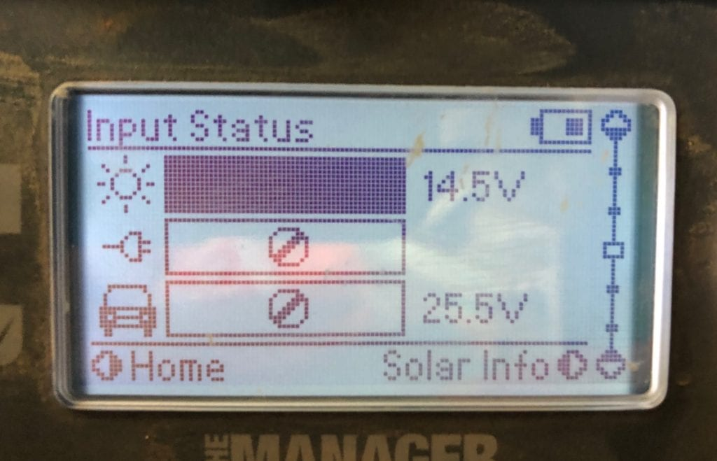 REDARC battery monitor showing how much voltage our solar blanket is putting into the system.