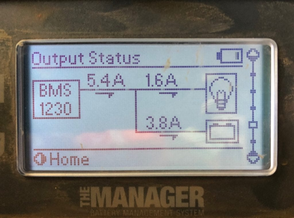 REDARC battery monitor showing how much current our solar blanket is putting into the system.