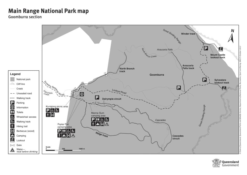 Map of the Goomburra section, Main Range National Park.