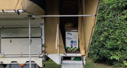Wedgetail Camper Brace Pole Added Over The Doorway Awning