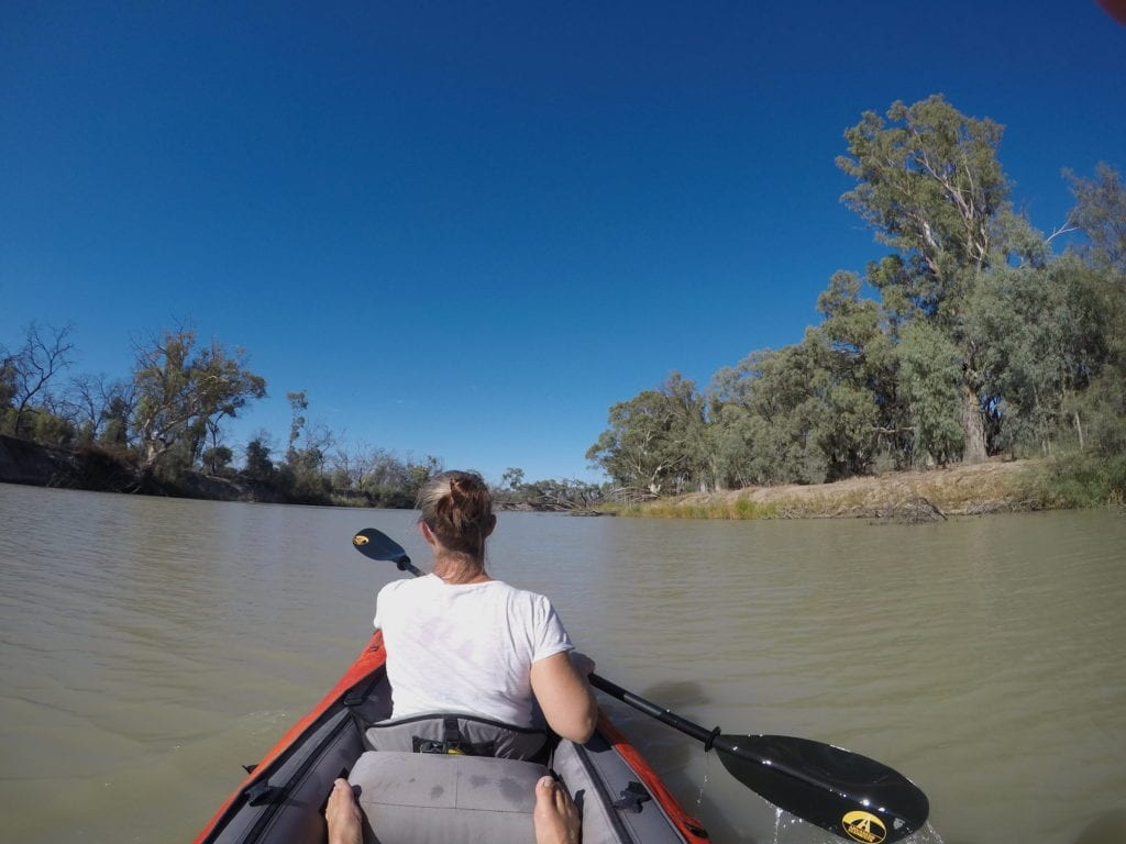Kayaking The Murray River. Drifting downstream with the current.