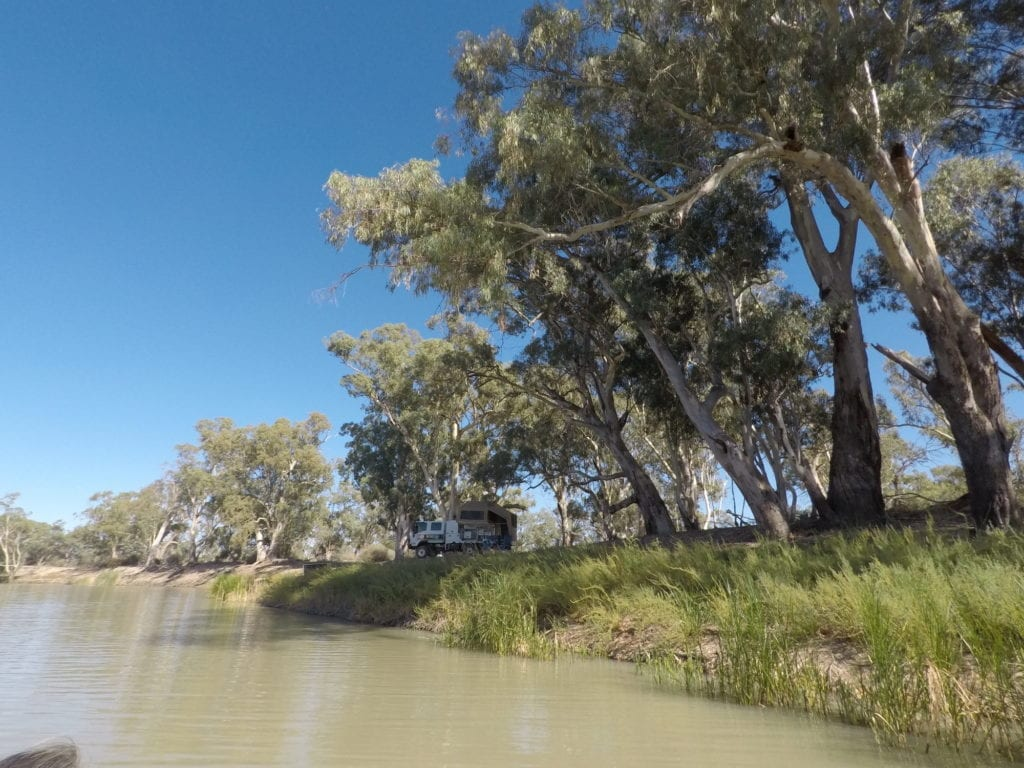 Kayaking The Murray River. Our campsite on the banks of the Murray River.