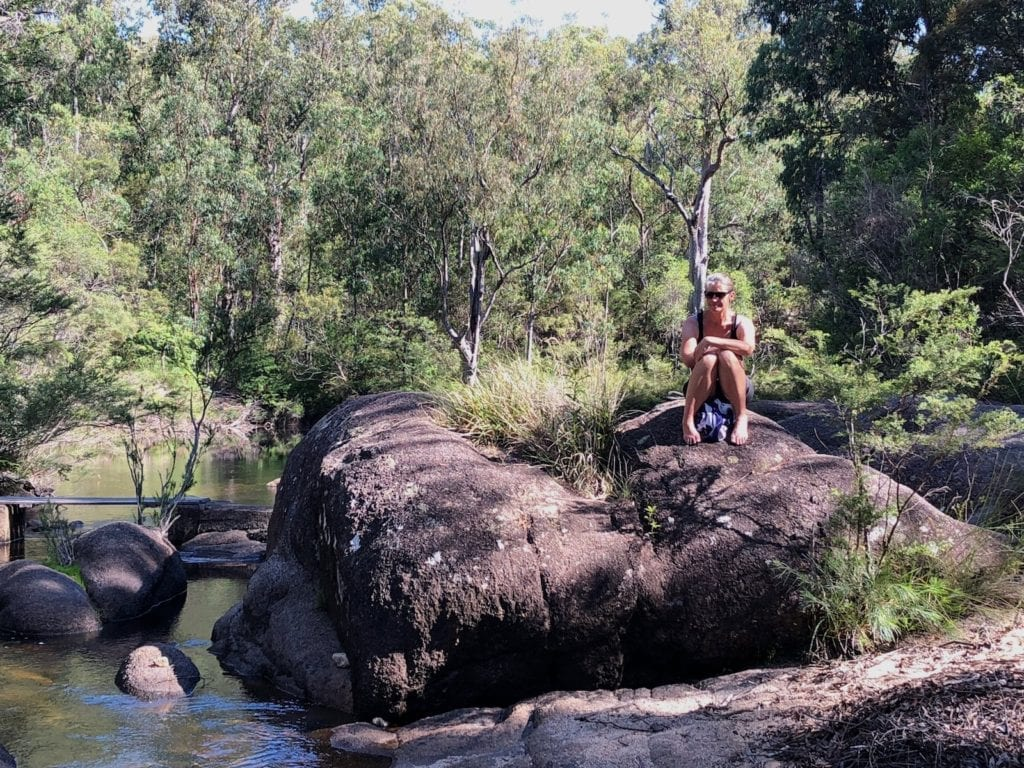 Relaxing at the creek. Mulligans Hut campground, Gibraltar Range National Park.