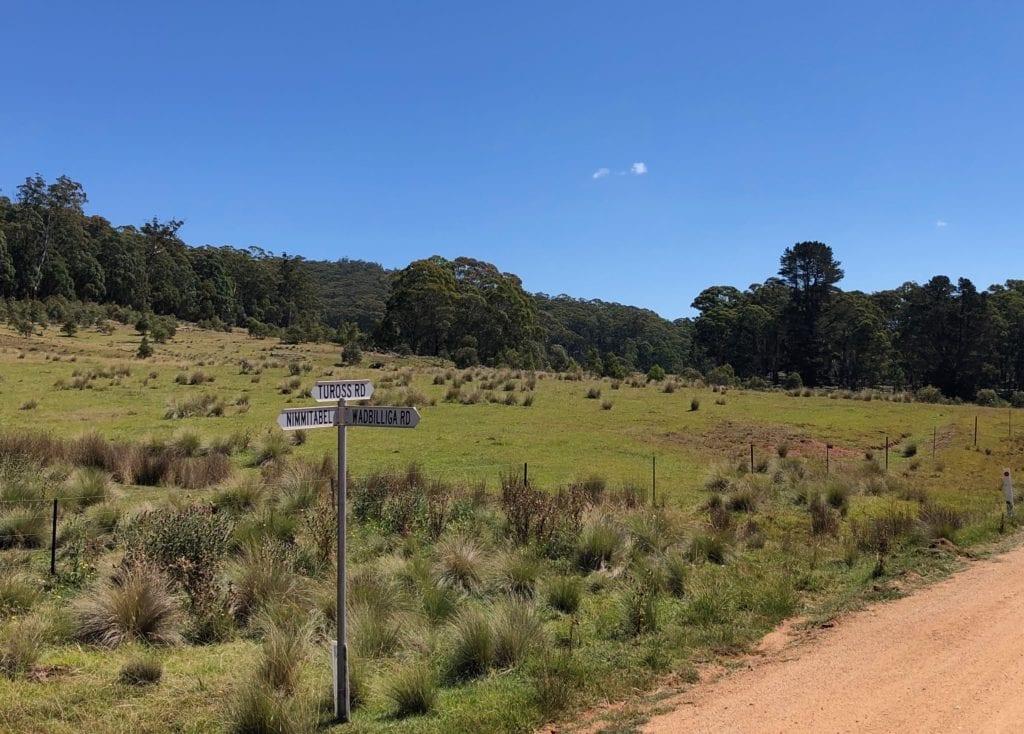 At the turnoff to Wadbilliga National Park on Tuross Road.