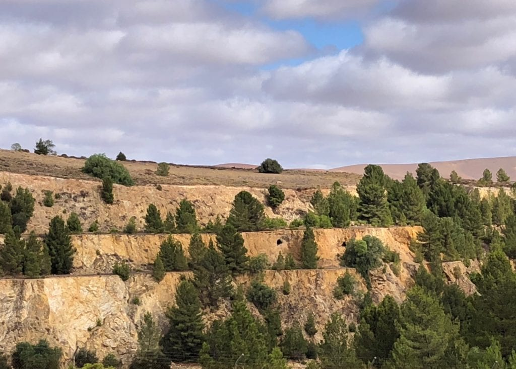 Burra mine showing original mineshafts in the mine walls. Burra Mine.