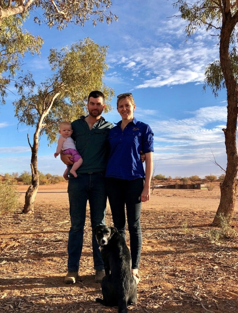 Isla, Reece and Bec Pedler with their dog Peggy at Fort Grey, Wild Deserts. Protecting mammals and other threatened species.