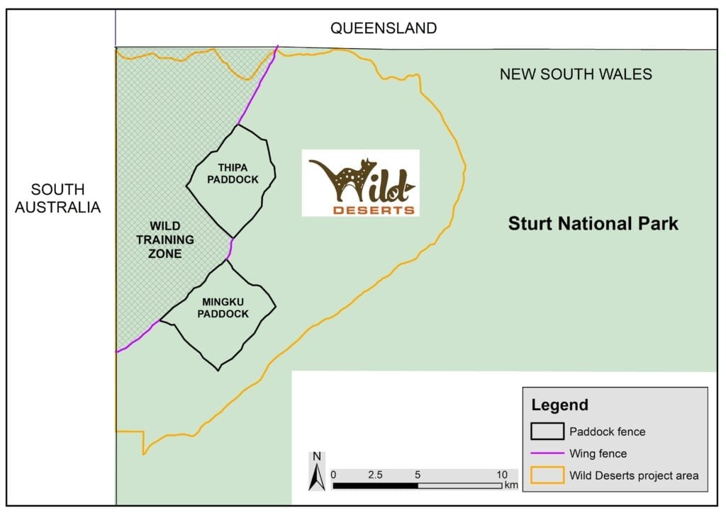 Styled map of the Wild Deserts project area in NSW. Protecting mammals and other threatened species.